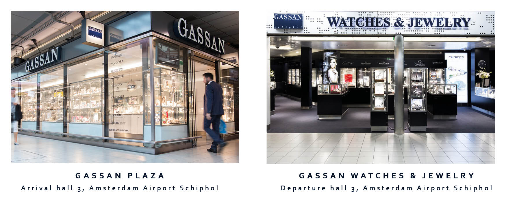GASSAN Schiphol shops before and after security